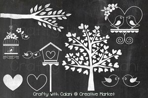 Chalkboard Love Bird & Heart Tree