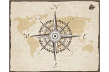 Vintage Nautical Compass. Old Map