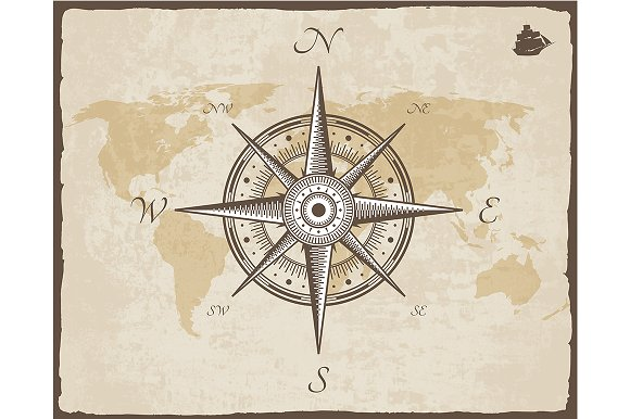Vintage Nautical Compass. Old Map - Illustrations