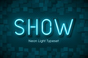 Neon light 3d alphabet