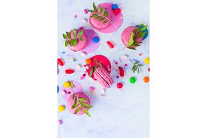 Macaroon cookies on a colorful