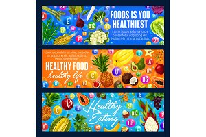Healthy eating and vitamins banners