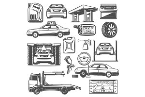 Repair and service car icons vector