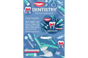 Dentistry treatment vector poster