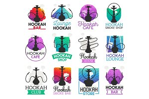 Hookah lounge bar or smoke icons