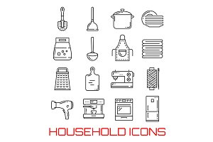 Household line art icons