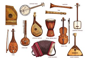 Retro musical instruments set