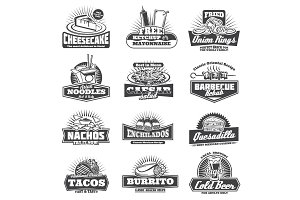 Retro takeaway fastfood vector icons