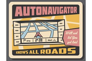 Navigation vector retro poster