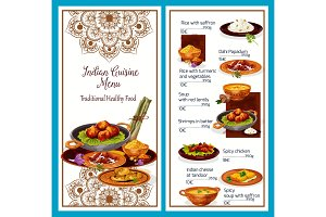 Indian cuisine menu