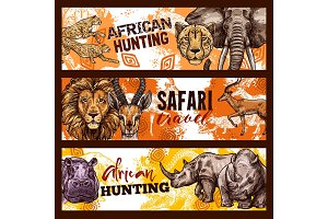 African safari hunting banners