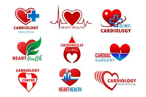 Cardiology and surgery heart symbols