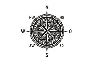 Vintage navigation compass icon