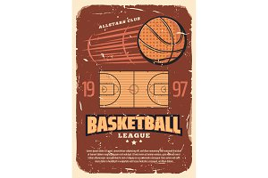 Basketball league old shabby poster