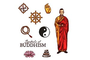 Buddhist monk and buddhism symbols