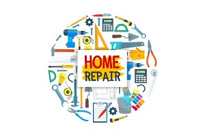 House repair poster with tools