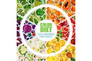 Fruits and vegetables color diet