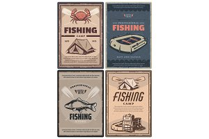 Fishing store and camp posters