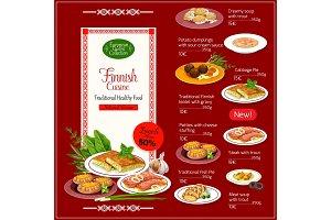 National Finnish cuisine menu