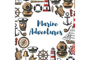 Marine adventure icons and symbols