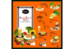 German cuisine menu