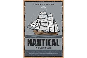 Nautical poster with wooden ship