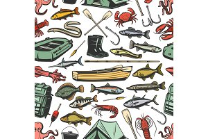 Fishing equipment seamless pattern