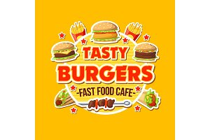 Burger takeaway fast food poster