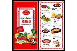 Korean cuisine menu and prices