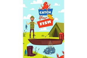 Catch fish poster with man and boat