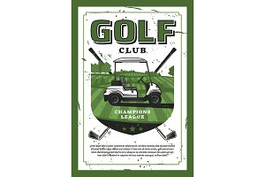 Golf club and car on lawn poster
