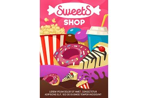 Tasty sweets and fast food shop