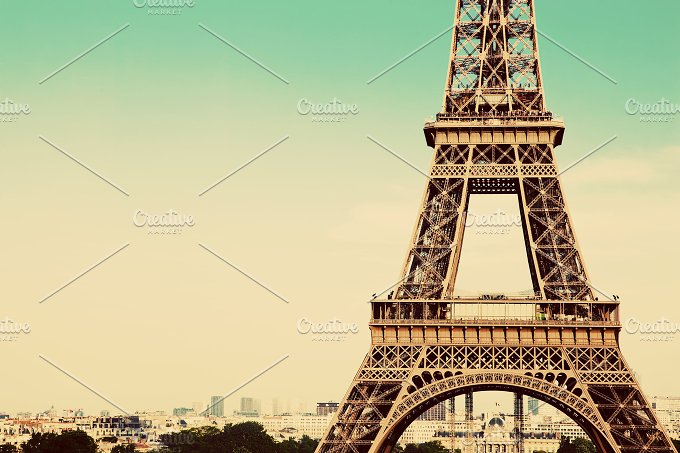 Eiffle Tower middle section. Vintage - Architecture