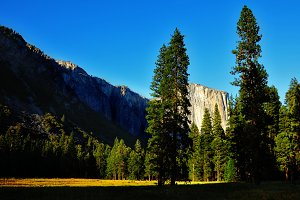 The glade in Yosemite park on sunset
