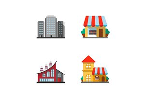 City buildings icons set