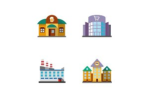 City buildings icons set