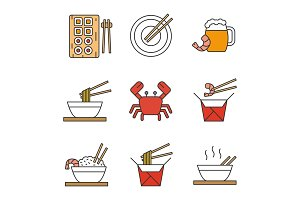 Chinese food color icons set