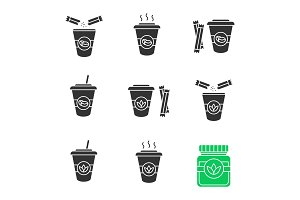 Coffee and tea drinks icons set