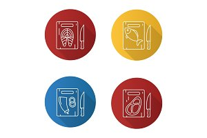 Food cutting icons set