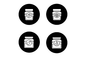 Fruit preserves glyph icons set