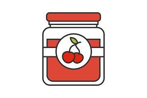 Cherry jam jar color icon