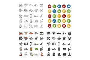 Auto workshop icons set