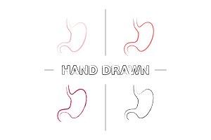 Stomach hand drawn icons set