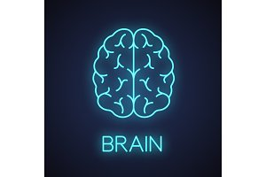 Human brain neon light icon