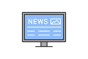 Electronic newspaper color icon