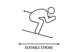 Skier linear icon