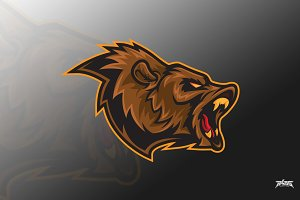 Bear Roar Vector Logo Mascot