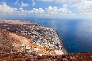 Kamari town on Santorini Island