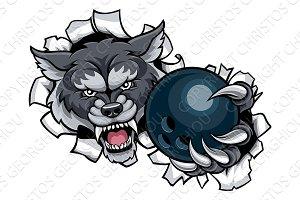 Wolf Bowling Mascot Breaking