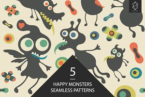 Happy monsters seamless pattern set